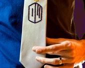 The TARDIS Tie: Silver Tie with Blue and Yellow Swarovski Rhinestones