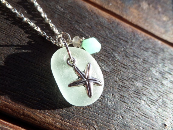 Starfish Necklace with White Scottish Sea Glass and Turquoise Accent