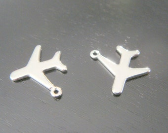 Silver  tarnish resistant Mini Airplane Charms, connectors, pendants, Air Force Jewelry Findings, 2 pc,  U519587G