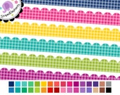 Ribbon Clipart - Scalloped Digital Ribbons Gingham - Instant Download - Commercial Use