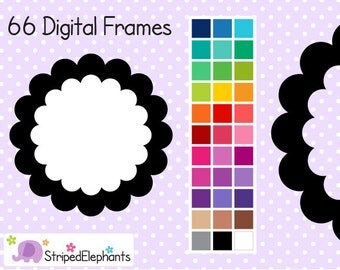 Double Scalloped Frames - Clip Art Frames - Instant Download - Commercial Use