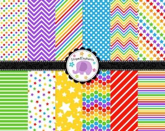 Rainbow Digital Paper Pack 2, rainbow digital scrapbook paper, digital background, Instant Download, Commercial Use