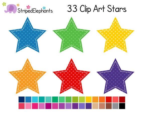 Stitched Star Clip Art Polka Dot Digital By StripedElephants
