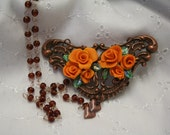 metal filigree base hand made poly clay orange roses leaves heart dangle rosary bead brown chain 24 in