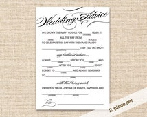 Printable 5x7 Mad Lib Wedding Advice Cards and matching 8x10 Wedding Advice Sign - Mad Libs Advice for your Wedding Day Reception