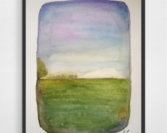 A Picnic Day - Original Watercolor Painting - Landscape painting 6x9