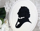 PRICE REDUCED!  Vintage Hand Painted Silhouette of Composer Felix Mendelssohn - One of 2 Composers Remaining - Perfect Gift For Music Lover