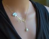 Gold Leaf Necklace, Gold Lariat Necklace, Leaf Jewelry, Pearl Necklace, Bridal Necklace, Gold Fill Necklace, Unique Necklace