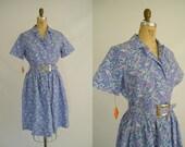 Vintage 1950s Cotton Dress / Purple Paisley / Tags Attached / Size 16
