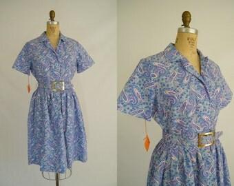 Vintage 1950s Cotton Dress / Purple Paisley / Tags Attached