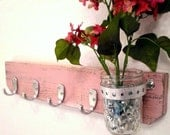 Shabby Chic / Distressed Wooden Wall Hanger-4 Brushed Nickel Hooks use for coats jackets, key holder with Mason Jar held by a Metal Strap