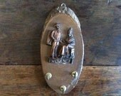 Vintage French Wooden Metal Wall Key Holder Hanger Plaque Provence Rustic Rural Hook circa 1960's / English Shop