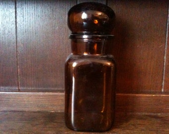Vintage French glass large brown honey coloured apothecary jar and lid circa 1950's / English Shop