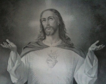 Antique French Jesus Print Picture Image circa 1890's / English Shop