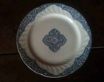 Vintage French blue white dinner lunch display plate circa 1920's / English Shop