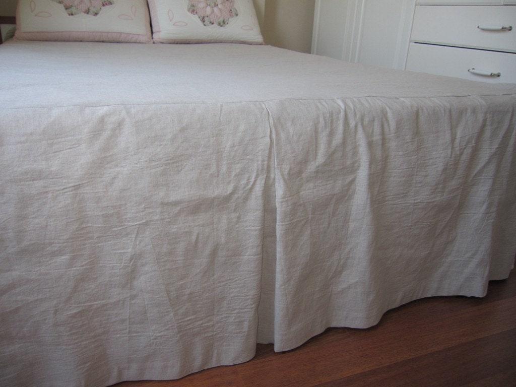 Split Corner Linen Bedspreadbox Pleated Skirted Coverlet 22