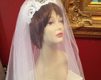 Vintage 90's Double Veil Crown Headpiece