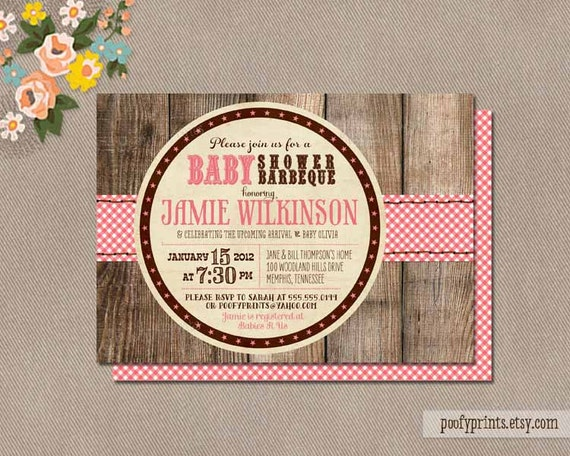 BBQ Baby Shower Invitations - Rustic Baby Girl Shower Printable Invitations - Jamie Collection