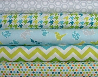Last One Mixed Bag Blue Fat Quarter Bundle of 5 by Studio M for Moda