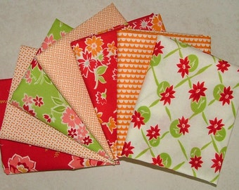 Miss Kate Red Orange and Green Half Yard Bundle of 7 by Bonnie & Camille for Moda
