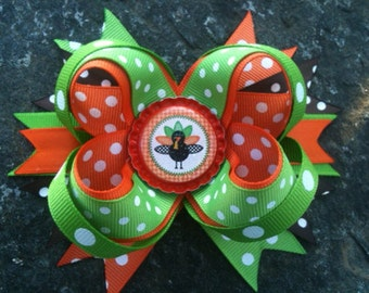 Thanksgiving Turkey Boutique Bottlecap Hairbow