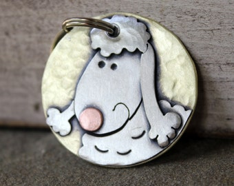 Poodle Dog Tag - Large Dog ID Tag -Personalized Poodle dog tag or key chain