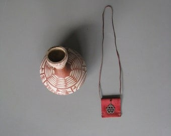 small leather pouch talisman medicine bag necklace - red suede - hippie boho red necklace - gypsy - talisman - amulet pouch