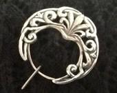 Silver Celtic Design Penannular Shawl Pin, Fibula, Scarf Pin, Shrug Pin, Kilt Pin, BentSpoonJewelry