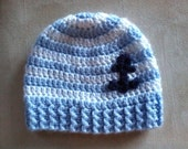 Crocheted Striped hat with anchor.  Blue white stripe and anchor, Nautical Hat, Coast Guard, Navy,