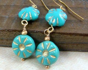 Turquoise Flower Earrings - Turquoise and Gold Dangle Earrings, Blue and Gold Earrings, Cottage Chic, Casual, Fun