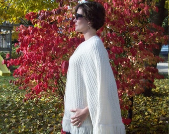 Soft Cable Knit Sweater Poncho By Sally Gee  // Sweater Shawl