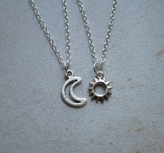 Sun and Moon Friendship Necklace by ShopBenji on Etsy