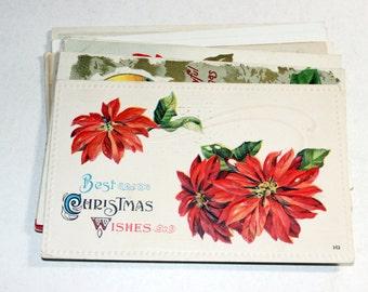 12 Vintage Christmas Used Postcards - Poinsettias - Antique Used Postcards