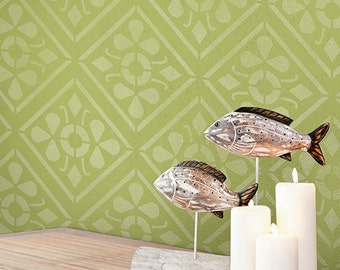 Large Geometric Tile Allover Wall Stencil for a Wallpaper Look
