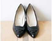 Vintage Heels 80s Black Patent Leather High Heels Women's Shoes Size 8 by Caressa Made in Spain