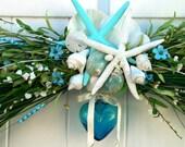 Beach Wedding Arch for Gazebo or Trellis-BEACH WEDDING DECORATION-Blue Glass Heart Wedding Decoration-Starfish Beach Wedding Decor-Shells
