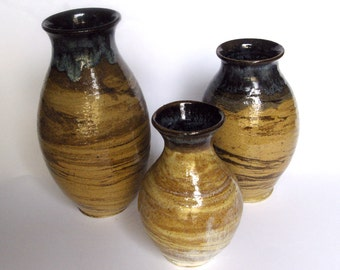 Three Wood Grain Vases