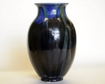 Tall dark vase with blue and green details, Tall, Dark, Handmade, Water tight, flower, feather, born of fire