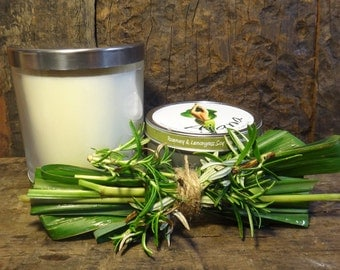 Rosemary & Lemongrass  Handmade Soy Wax Candle - (Essential Oil) - Flat Rate Shipping Now Available!