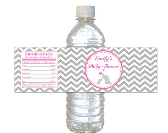 Printable Personalized Pink Chevron Elephant Baby Shower Water Bottle Labels Wrappers - Party Favors Baby Shower Items Baby Shower Favors