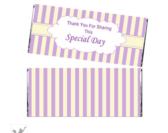 Printable Yellow Purple Lavender Stripes Party Candy Bar Wrapper - Baby Shower Decoration Birthday Party Favors Chocolate INSTANT DOWNLOAD
