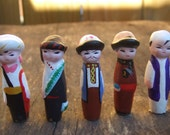 Vintage. Set of 5 Tiny Asian and Middle Eastern Men Made of Clay. For Miniature Garden, Terrarium, Diorama.