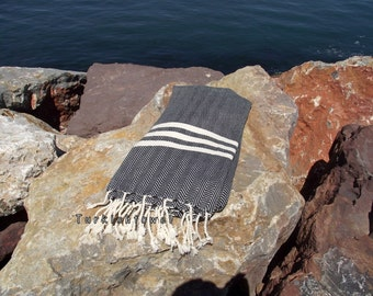 Turkishtowel-Hand woven,20/2 cotton warp and weft ,Herrigbone Turkish Bath,Beach Towel-Black and cream stripes
