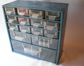 Vintage Large Parts Cabinet Set of Tin and Plastic Drawers or Nail Box