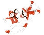 Children's Wall Art Print - Kids Decor - Wall Art Illustration - kids nursery - toddler's room - winter, snow, red, brown Snowangels