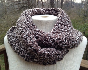Brown infinity scarf, lightweight circle scarf, crocheted infinity scarf, cowl scarf, gift for her