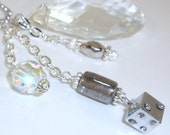 Car Charm Vintage Chandeliar Crystal with Rhinestone Studded Dice, Silver, Crystal, Beads