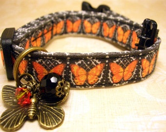 Safety cat collar - Cat collar - Cat charm - Gemstone charm - Pet charm - Butterfly charm