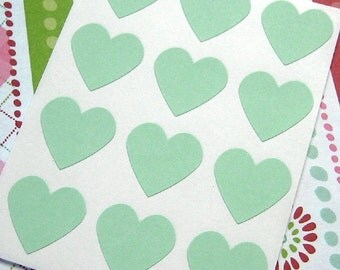 108 Heart Sticker Seals Pastel Green 3/4 inch