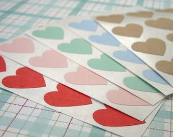 Heart Sticker Seals 3/4 inch - Choose Color Pink, Red, Blue, Green, Kraft, Purple, Gray, White